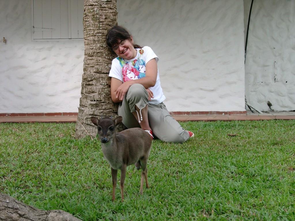 Natacha et sa petite antilope naine au Gabon